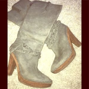 EUC Steel Grey Cole Haan heeled boots. 10